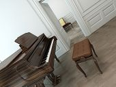 Oblique view of a vintage interior with a classical brown grand piano, an adjustable chair and an op