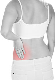 pic of sick kidney  - Close up of woman kidney pain isolated on white background - JPG