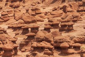 foto of goblin  - Mushroom Shaped Hoodoos Goblin Valley State Park Rock Canyon San Rafael Desert Utah USA Southwest - JPG