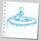 Businessman in inflatable boat fishing