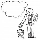 Businessman throwing paper in garbage can speaking