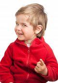 Blonde Toddler Boy Pointing To Camera