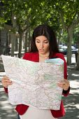 angry woman watching a map