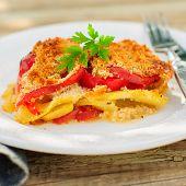 A Slice Of Tomato, Red Capsicum, Zucchini And Feta Gratin