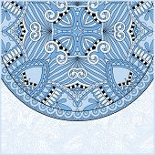 blue colour ornamental floral template with circle ethnic dish