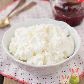 Cottage Cheese (quark, Cream Cheese, Curd) In A White Bowl