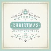 foto of christmas greetings  - Christmas retro typography and ornament decoration - JPG
