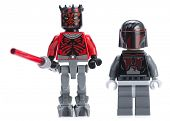 Ankara, Turkey - April 24, 2014: Lego Star Wars minifigure Darth Maul and Mandalorian Super Commando isolated on white background.