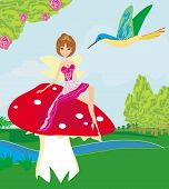 pic of fairy-mushroom  - The small fairy on mushroom and bird  - JPG