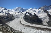stock photo of rosa  - Monte Rosa with Gorner Glacier - JPG