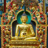 Golden temple in the Namdroling Monastery in Bylakuppe, Karnataka, India