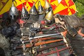 Armor. Medieval weapons.