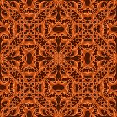 Bright Orange Fantastic Seamless Pattern With Fantastic Leaves In Autumn Colors. Retro Texture.