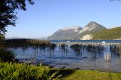 picture of annecy  - Overview of Lake of Annecy and Forclaz mountain in france - JPG