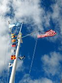pic of wispy  - Nautical and American Flags Flying from a Ship - JPG