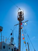 Columbia Lightship Main Light With Nautical And American Flags Hanging