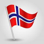 Vector 3D Norwegian Waving  Flag On Pole