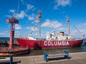 Columbia Lightship And Modern Navigational Buoy In Astoria Oregon Usa