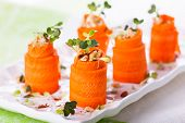 Raw Carrot Roll-Ups with hummus and sprouts for holiday