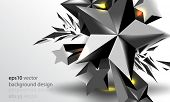 eps10 vector three-dimensional metallic star with burst effect background