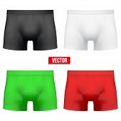 stock photo of boxer briefs  - Set of Realistic layout Male of different colors underpants briefs - JPG