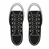Silhouette simple symbol of gumshoes sneakers. Vector Illustration.