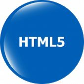 Html 5 Sign Icon. Programming Language Symbol. Circles Buttons