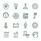 Auto    thin line vector icon set