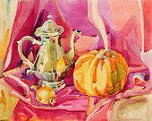 original handmade watercolor painting still life