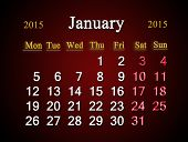 Calendar On January Of 2015 Year On Claret