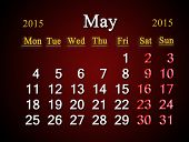 Calendar On May Of 2015 Year On Claret