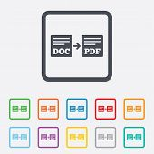 Export DOC to PDF icon. File document symbol.