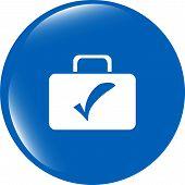 Tick Mark On Business Suitcase. Web Icon Isolated On White