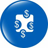 Web Sign Icon. Dollar Usd Symbol. Shiny Button. Modern Ui Website Button
