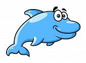 Happy cartoon blue dolphin character