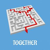 Labyrinth puzzle showing two alternative routes