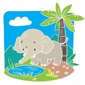 Children Vector Illustration Of Elephant.