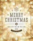 Christmas bokeh light and snowflakes vector background. Merry Christmas message label Greeting card design or invitation and holidays wishes.