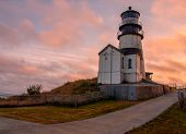 picture of coast guard  - Cape Disappointment Lighthouse at Sunset in Fort Canby State Park near Ilwaco Washington USA - JPG