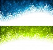 Colored winter abstract banners. Christmas background with snowflakes. Vector.