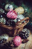 Decorations In A Wicker Basket