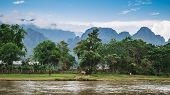 Landscape And Mountain In Vang Vieng, Laos.