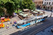 Old  Tram Is In The Historic Center Of Lviv.