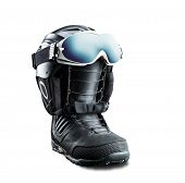 Snowboard boot with helmet and goggles