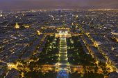 stock photo of nightfall  - Nightfall in the city of Paris Ile - JPG