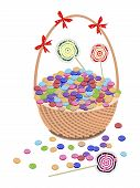 A Brown Basket of Chocolates and Lollipops