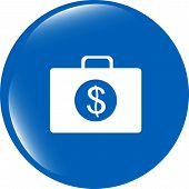 Us Dollar Glossy Icon On White Background