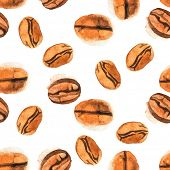 Watercolor seamless coffee beans background