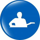 Guitarist Web Icon Button Isolated On White