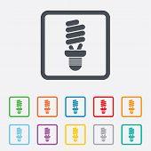 Fluorescent lamp bulb sign icon. Energy saving.
